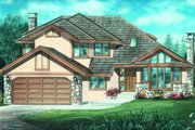 European Style House Plan - 3 Beds 2.5 Baths 2135 Sq/Ft Plan #47-564 Exterior - Front Elevation