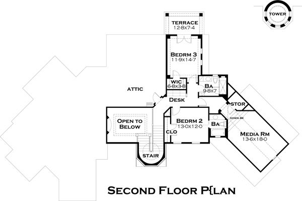 European Floor Plan - Upper Floor Plan Plan #120-182