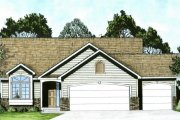 Traditional Style House Plan - 2 Beds 2 Baths 1112 Sq/Ft Plan #58-168 Exterior - Front Elevation