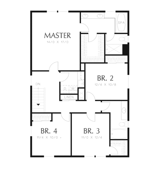 Traditional Floor Plan - Upper Floor Plan Plan #48-912