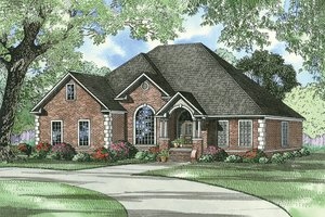 European Exterior - Front Elevation Plan #17-526