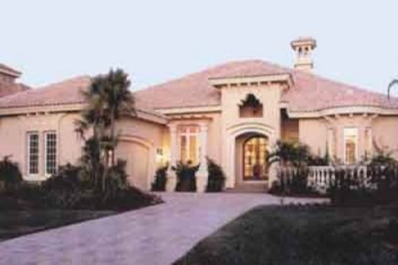 Mediterranean Style House Plan - 3 Beds 3.5 Baths 3006 Sq/Ft Plan #115-104 Exterior - Front Elevation