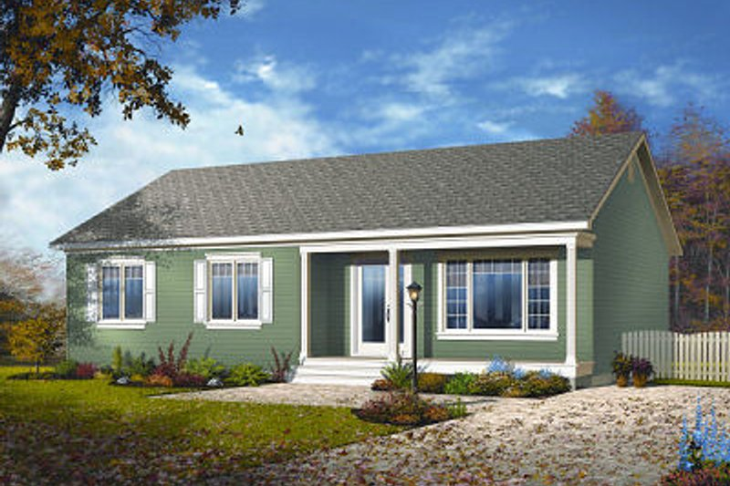 Ranch Style House Plan - 3 Beds 1 Baths 1180 Sq/Ft Plan #23-779 Exterior - Front Elevation