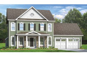Colonial Exterior - Front Elevation Plan #1010-50