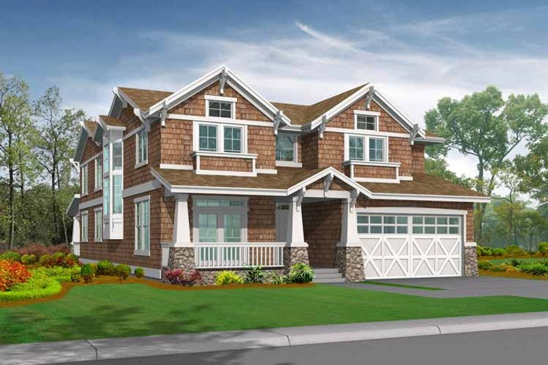 Craftsman Exterior - Front Elevation Plan #132-445