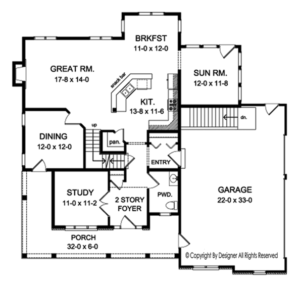 Colonial Floor Plan - Main Floor Plan Plan #1010-197