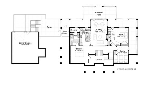 Traditional Floor Plan - Lower Floor Plan Plan #928-262