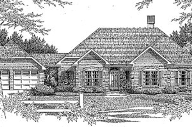 Traditional Style House Plan - 3 Beds 2 Baths 1572 Sq/Ft Plan #41-118 Exterior - Front Elevation