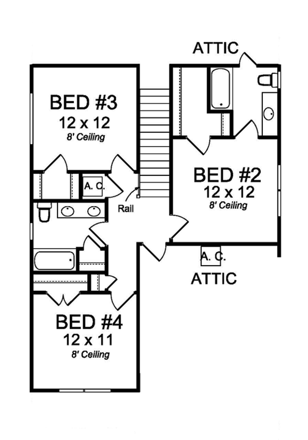 Country Floor Plan - Upper Floor Plan Plan #513-2164