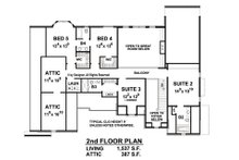 European Floor Plan - Upper Floor Plan Plan #20-2276