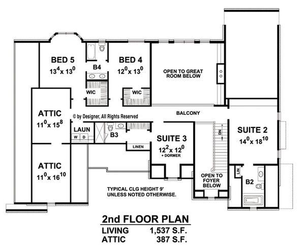 European Floor Plan - Upper Floor Plan Plan #20-2276