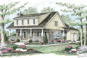 Colonial Exterior - Front Elevation Plan #1002-11