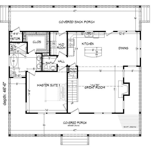 Country Floor Plan - Main Floor Plan #932-14