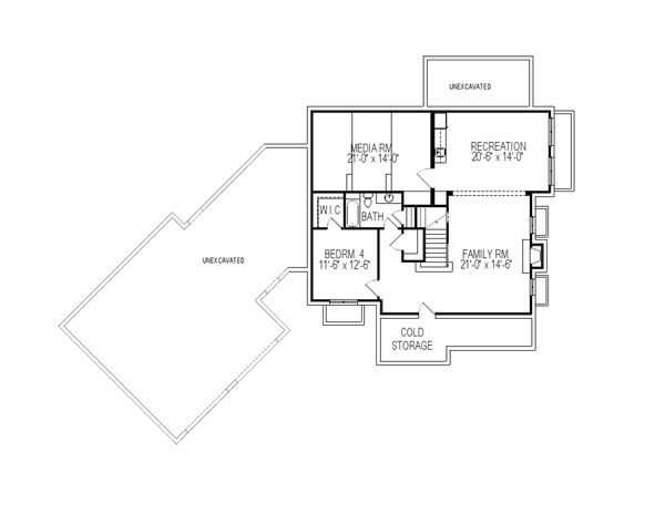 Traditional Floor Plan - Lower Floor Plan Plan #920-84