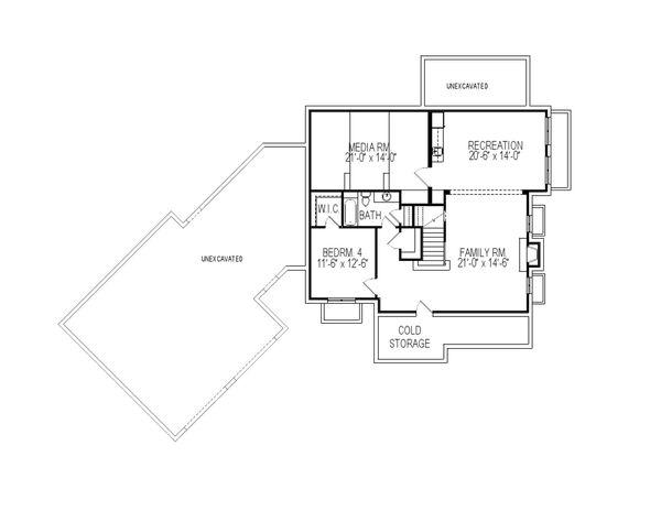Traditional Floor Plan - Lower Floor Plan Plan #920-84