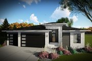 Contemporary Style House Plan - 2 Beds 2 Baths 1484 Sq/Ft Plan #70-1489 Exterior - Front Elevation