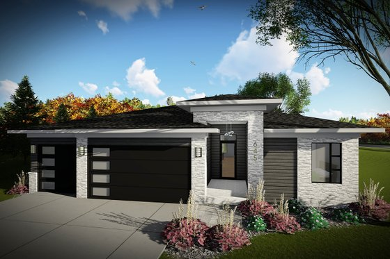 Architectural House Design - Contemporary Exterior - Front Elevation Plan #70-1489