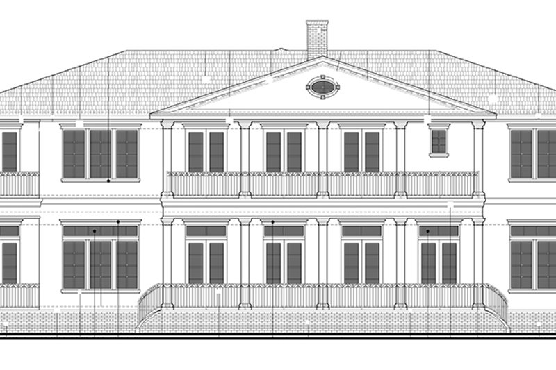 Colonial Exterior - Rear Elevation Plan #1058-82 - Houseplans.com