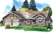 Ranch Style House Plan - 3 Beds 2 Baths 1668 Sq/Ft Plan #18-1056 Exterior - Front Elevation