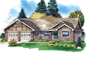 Ranch Exterior - Front Elevation Plan #18-1056
