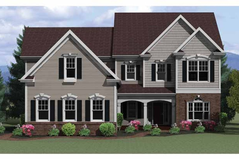 Colonial Exterior - Front Elevation Plan #1010-19
