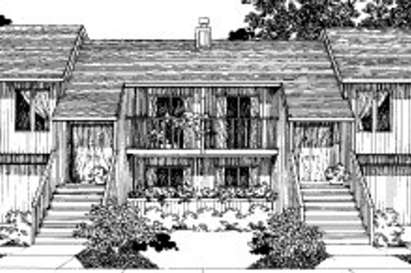 Modern Style House Plan - 3 Beds 3 Baths 2252 Sq/Ft Plan #303-151 Exterior - Front Elevation