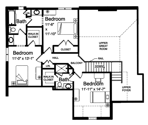 Traditional Floor Plan - Upper Floor Plan Plan #46-863