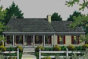 Country Style House Plan - 3 Beds 2 Baths 1492 Sq/Ft Plan #406-132 Exterior - Front Elevation