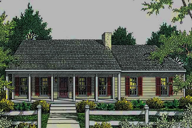 Country Exterior - Front Elevation Plan #406-132 - Houseplans.com
