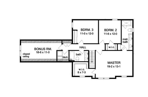 Colonial Floor Plan - Upper Floor Plan Plan #1010-82