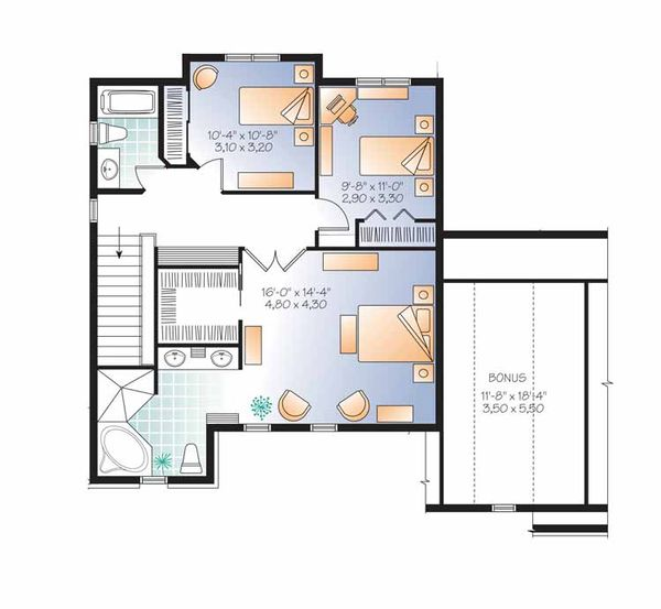 Country Floor Plan - Upper Floor Plan Plan #23-2558