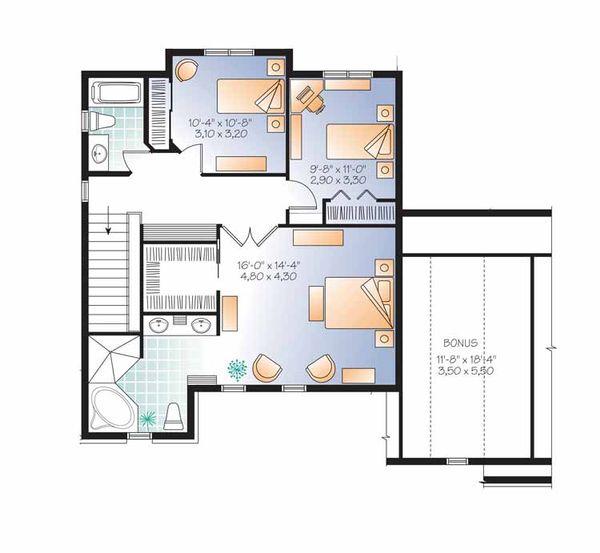 Country Floor Plan - Upper Floor Plan Plan #23-2558