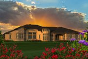 Ranch Style House Plan - 4 Beds 3 Baths 5230 Sq/Ft Plan #70-1234 Exterior - Rear Elevation
