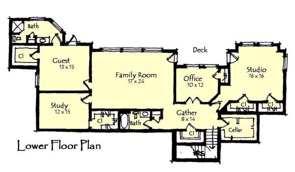 Craftsman Floor Plan - Lower Floor Plan #921-23