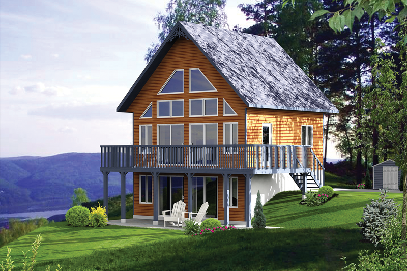 Cabin Style House Plan - 2 Beds 2 Baths 831 Sq/Ft Plan #25-4272
