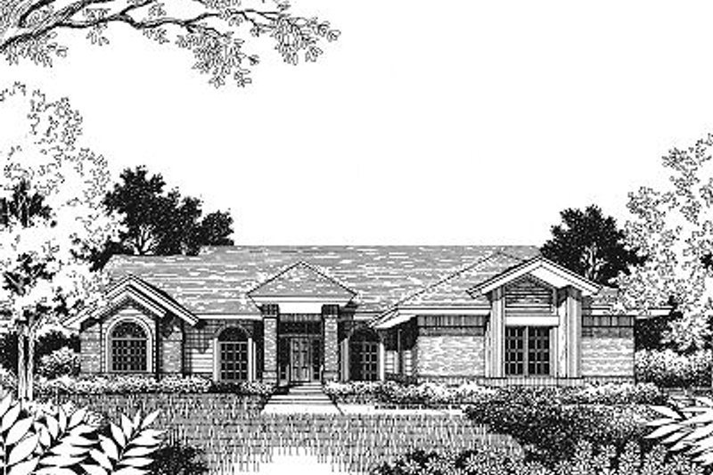 Modern Style House Plan - 3 Beds 2 Baths 1771 Sq/Ft Plan #417-150 Exterior - Front Elevation