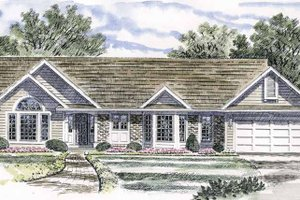 Ranch Exterior - Front Elevation Plan #316-127