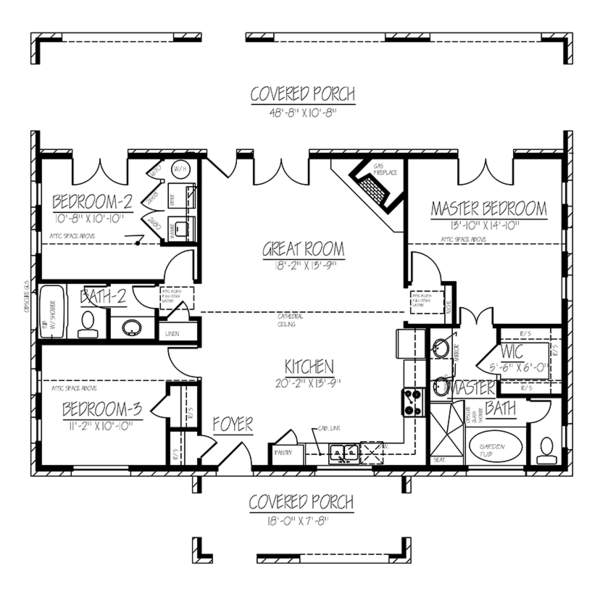 Cottage Floor Plan - Main Floor Plan Plan #1061-10
