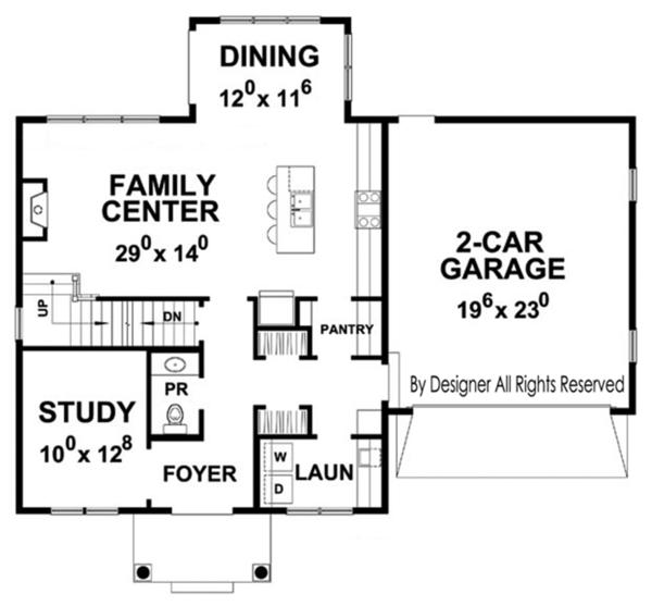 House Plan Design - Colonial Floor Plan - Main Floor Plan #20-2249