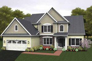Colonial Exterior - Front Elevation Plan #1010-16