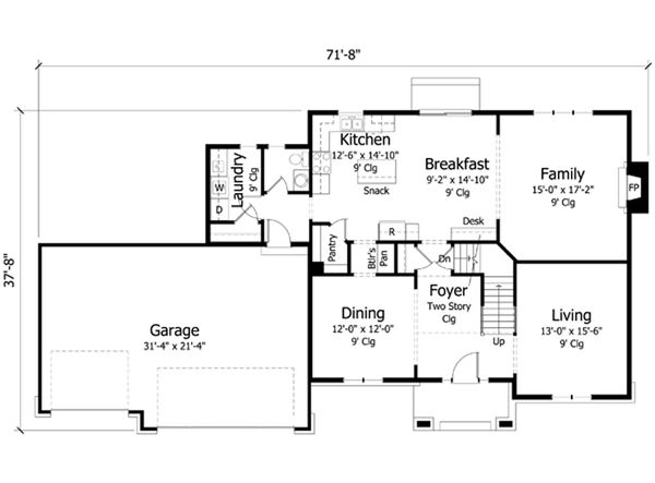 Traditional Floor Plan - Main Floor Plan Plan #51-411
