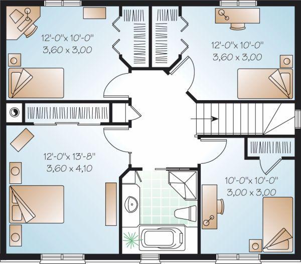 Colonial Floor Plan - Upper Floor Plan Plan #23-730
