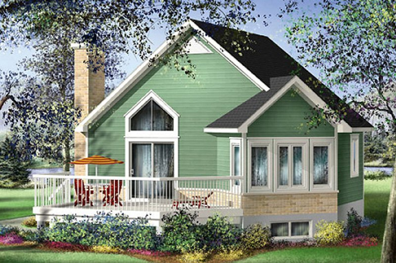 Contemporary Style House Plan - 1 Beds 1 Baths 696 Sq/Ft Plan #25-4192 Exterior - Front Elevation