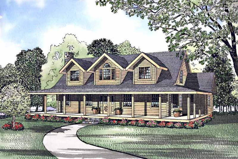 Log Exterior - Front Elevation Plan #17-3034