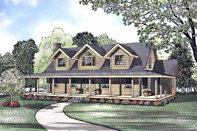 Log Exterior - Front Elevation Plan #17-3034