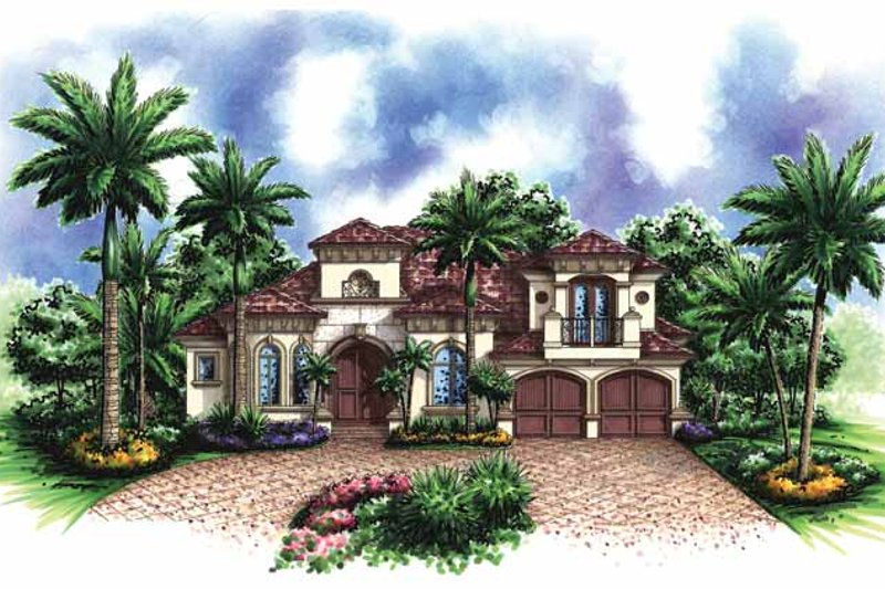 Mediterranean Exterior - Front Elevation Plan #1017-124