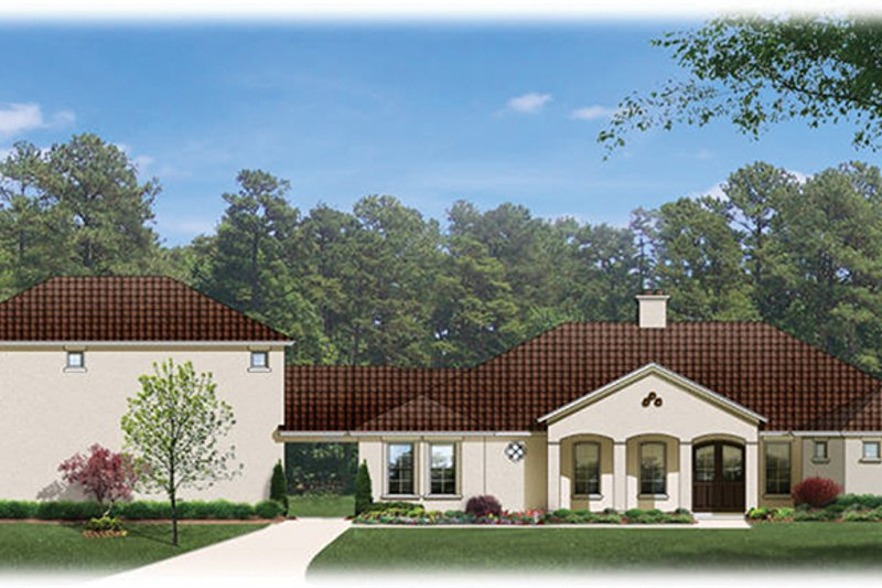 Dream House Plan - Mediterranean Exterior - Front Elevation Plan #1058-81