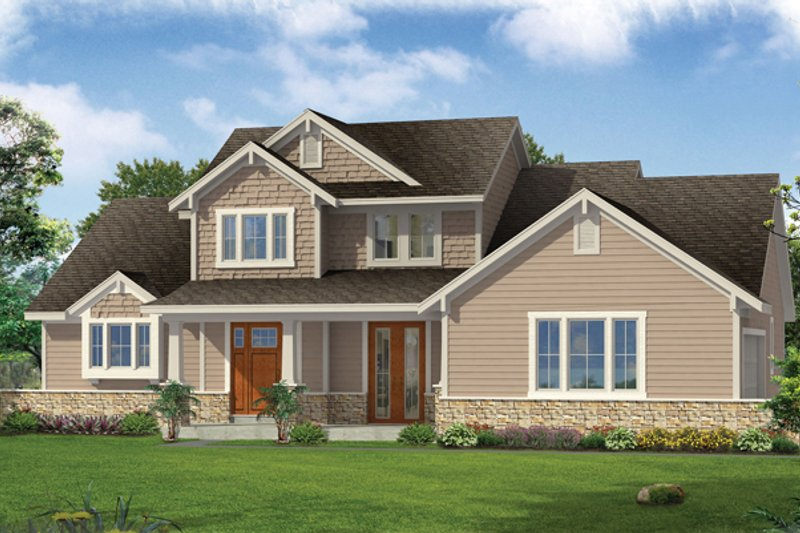 Architectural House Design - Craftsman Exterior - Front Elevation Plan #46-830