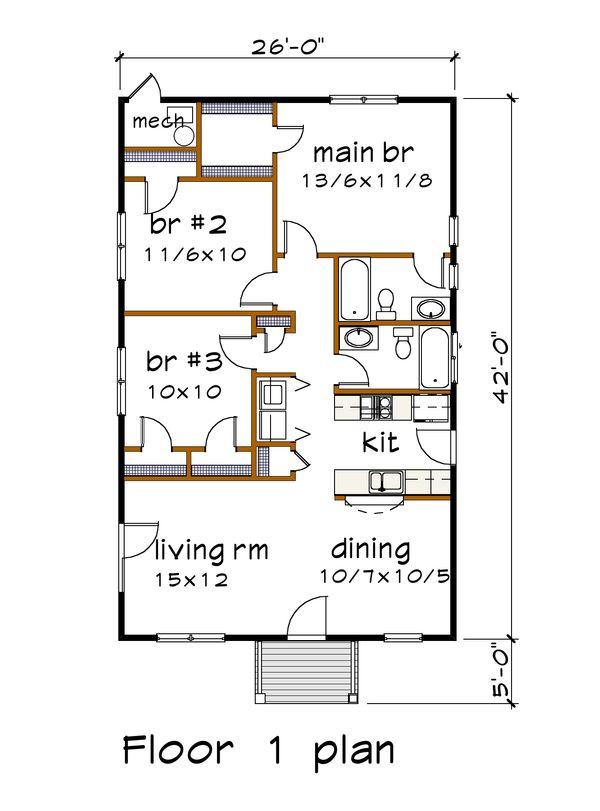 Architectural House Design - Cottage Floor Plan - Main Floor Plan #79-114