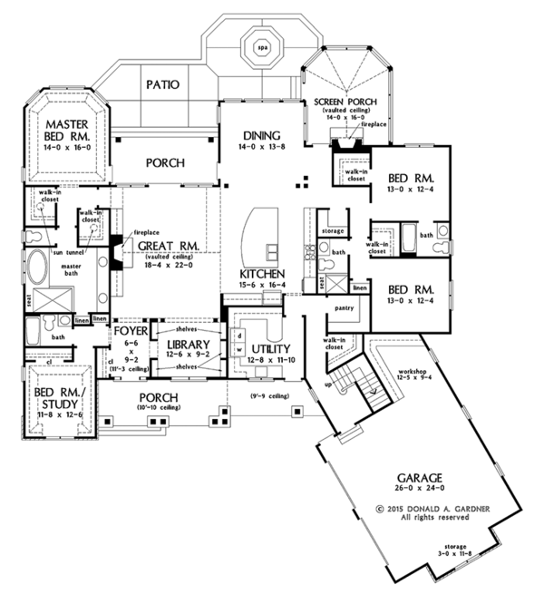 Ranch Floor Plan - Main Floor Plan Plan #929-1007